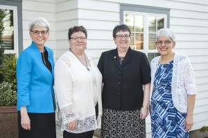 Founding Sisters, (from left) Sr. Barbara Kennedy, Sr. Lisa Sheridan and Sister Sarah Deeby (far right), are joined by the Servants of Mary Provincial Sr. Mary Gehringer (second from right) to celebrate the 30 year milestone.
